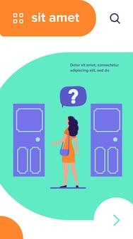 Twee toegangskeuze. vrouw met vraagteken kiezen tussen twee deuren platte vectorillustratie