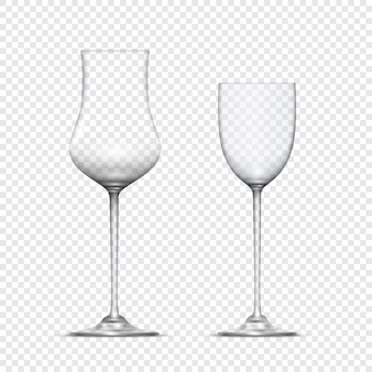 Twee transparante realistische lege glazen drinkbekers