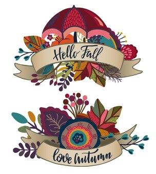 Twee vector herfst boeketten met linten, belettering zinnen. herfst composities voor wenskaart, uitnodiging, poster met mooie heldere bladeren, bloemen, takken, bessen.