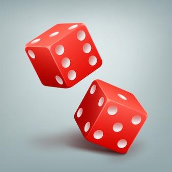 Twee vector rode casino vallende dobbelstenen met witte stippen geïsoleerd op de achtergrond