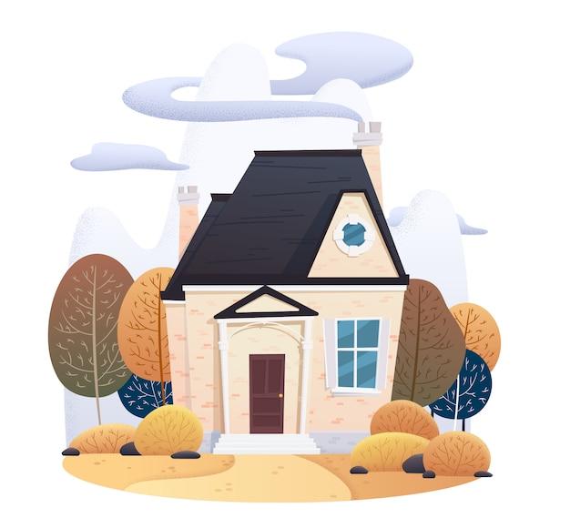 Twee verdiepingen herfst huis met vallende bladeren en ingericht