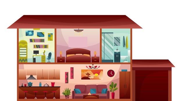 Twee verdiepingen tellend huisje dwarsdoorsnede interieur. modern huisje met woonkamer en keuken op eerste verdieping, badkamer en slaapkamer boven, zolder kinderkamer. vastgoedconcept