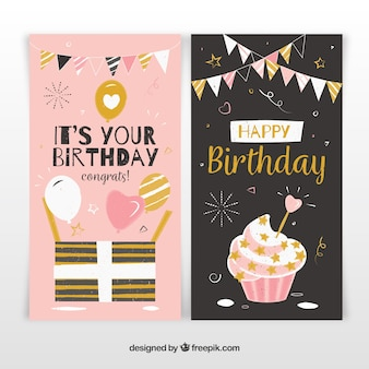 Twee verjaardagskaarten in zwart en roze