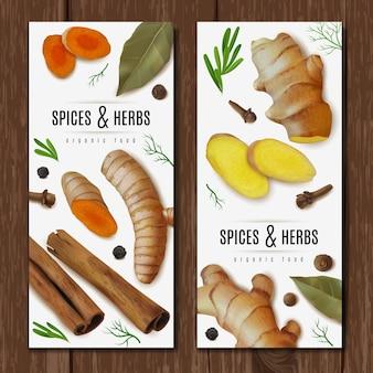 Twee verticale banners met kruiden en specerijen