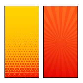 Twee verticale comic pagina's stijl ontwerp van de banner
