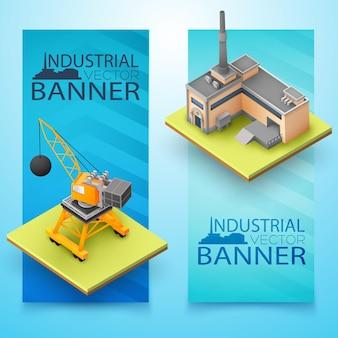 Twee verticale geïsoleerde 3d industriële banner die met graafmachinefabriek en grote krantenkoppen wordt geplaatst