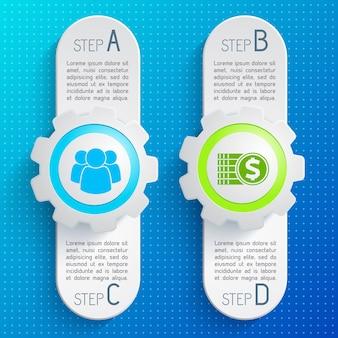 Twee verticale grijze zakelijke infographic set met vier stappen