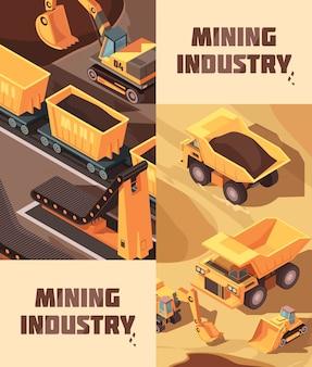 Twee verticale mijnbouwbanners met isometrische afbeeldingen van vrachtwagens