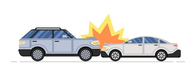 Twee verwoeste auto's. auto ongeluk