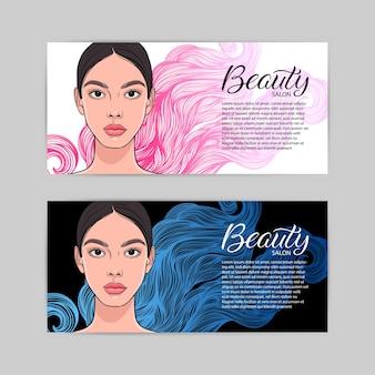 Twee visitekaartjes voor schoonheidssalon met partrait van jonge aantrekkelijke vrouw.