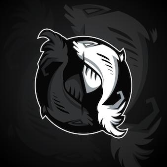 Twee vissen vormen een yin yang symbool