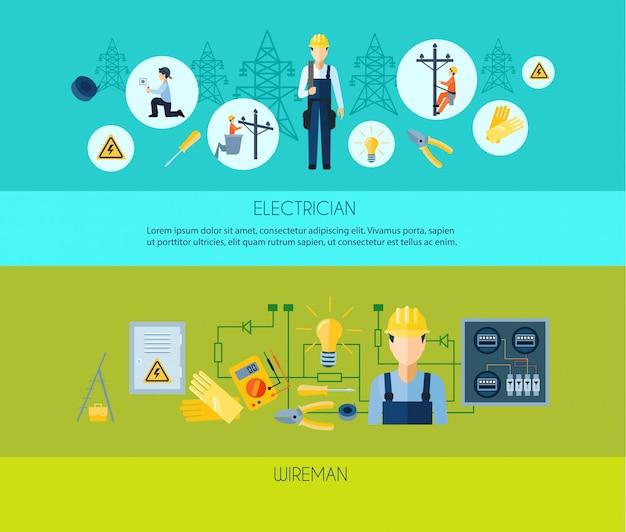 Twee vlakke stijlbanners die elektricien en wireman voorstellen