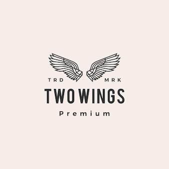 Twee vleugels hipster vintage logo pictogram illustratie