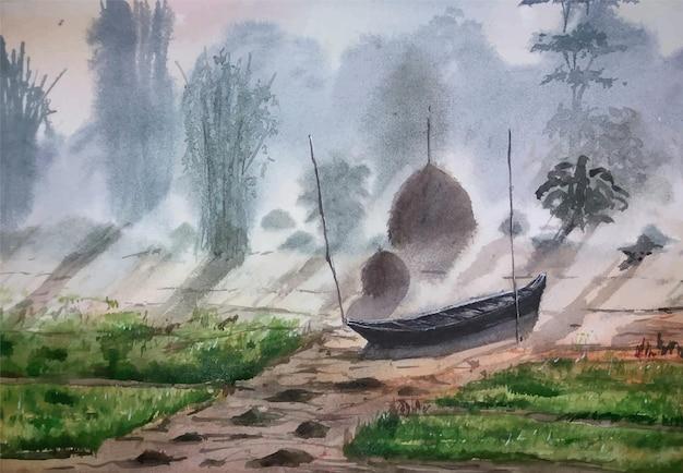 Twee vogels handgetekende illustratie met waterverf op papier