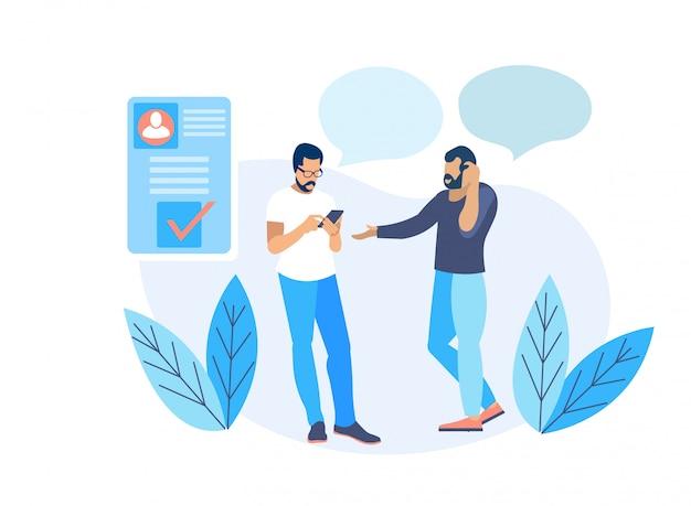 Twee volwassen bebaarde mannen communiceren via smartphone