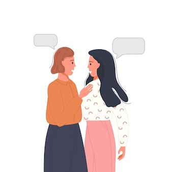 Twee vrienden sprekende paren met tekstballonnen karakter dialoog concept