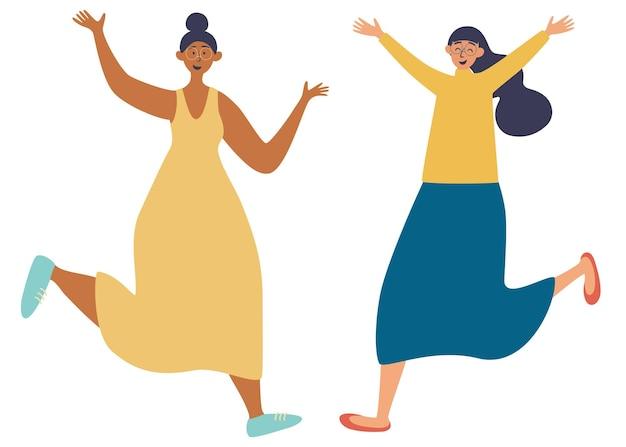 Twee vrolijke vrouwen. vrouwen van verschillende nationaliteiten. twee vrouwen vieren iets. gelukkige meisjes opgewonden door succes. vriendschap. handgetekende karakters. vector illustratie vlakke stijl
