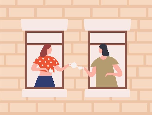 Twee vrouwelijke buren die samen thee drinken platte vectorillustratie. cartoon vrouw roddelen door raam in huis. buitenkant van gebouw, vriendschap en buurtconcept.