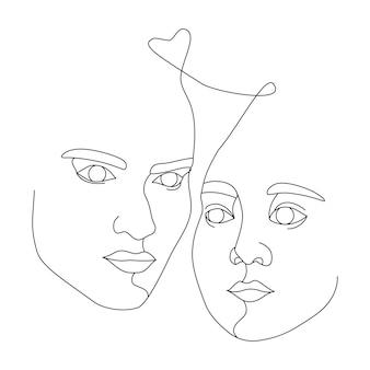 Twee vrouwelijke gezichten getekend met één doorlopende lijn. minimalistische abstracte portretten van mooie vrouwen. moderne mode-concept. zwarte schets op witte achtergrond