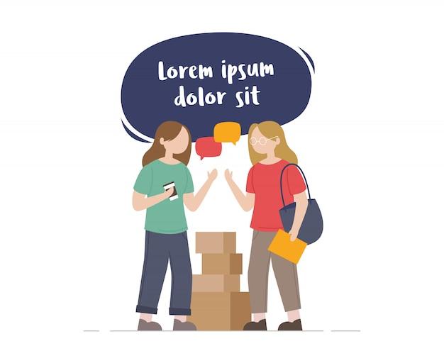 Twee vrouwelijke vrienden die illustratie spreken