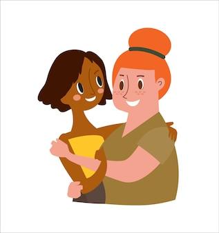 Twee vrouwelijke vrienden knuffelen geïsoleerd op een witte achtergrond. cartoon karakter illustratie.