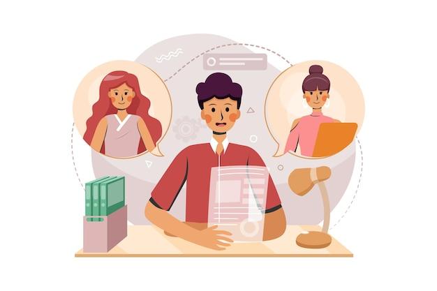 Twee vrouwen discussiëren met hun baas via het online call illustration-concept