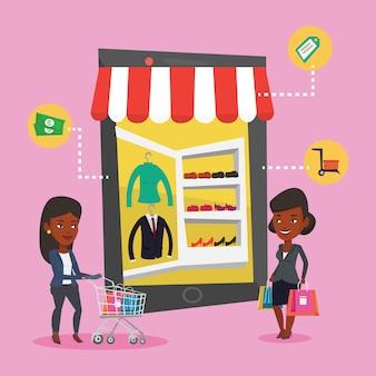 Twee vrouwen doen online winkelen.