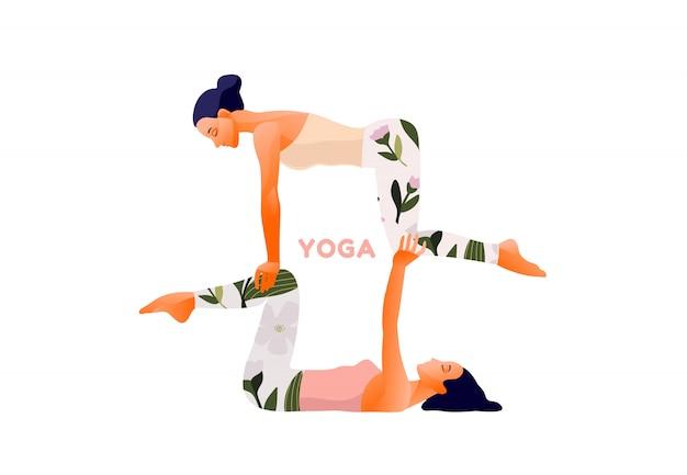 Twee vrouwen oefenen acro yoga oefening. yoga pose voor stel, evenwicht. internationale yogadag.