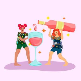 Twee vrouwen partij gieten rose wijn uit een enorme fles. vrouwelijke vriendschap, plezier, meisjeskracht en partijconcept. plat trendy
