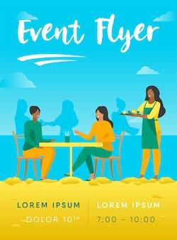 Twee vrouwen zitten in café flyer-sjabloon