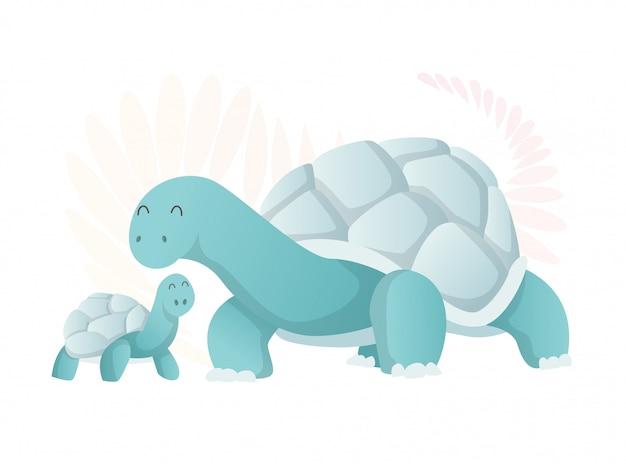 Twee wandelende schildpadden, moeder en baby.