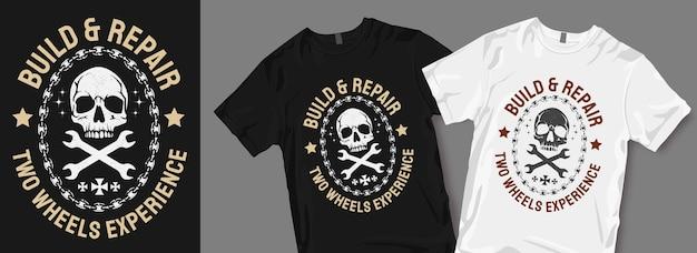 Twee wielen ervaren t-shirtontwerpen