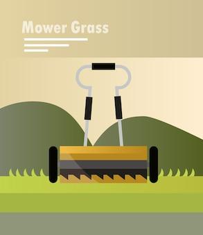 Twee wielen grasmaaier landschapsarchitectuur ontwerp illustratie