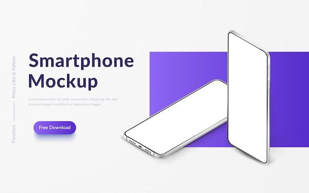 Twee witte realistische isometrische smartphones. mobiele telefoons met een leeg wit scherm. moderne mobiele telefoons sjabloon op verloop achtergrond. banner van apparaatscherm