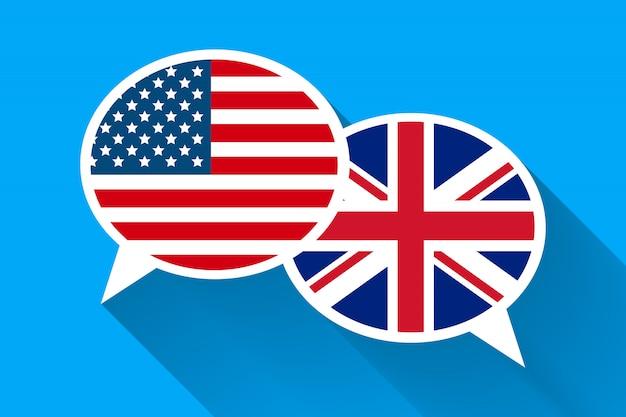 Twee witte tekstballonnen met amerikaanse en groot-brittannië vlaggen.
