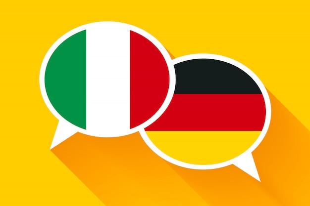 Twee witte tekstballonnen met italiaanse en duitse vlaggen