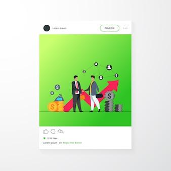 Twee zakelijke partners handshaking platte vectorillustratie. cartoon zakenlieden overeenkomst voor succes sluiten. partnerschap, teamwerk en onderhandelingsconcept