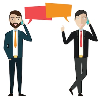 Twee zakenlieden communiceren met elkaar via de telefoon