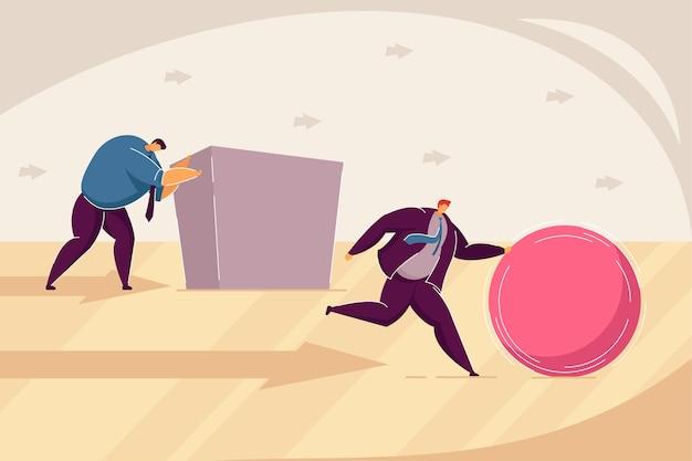 Twee zakenlieden die abstracte figuren naar het doel duwen platte vectorillustratie