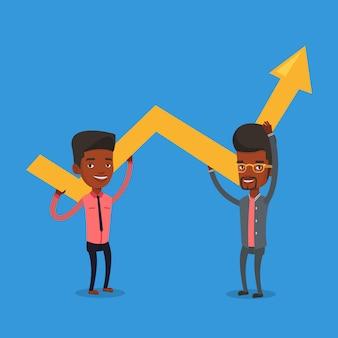 Twee zakenlieden die de groeigrafiek houden.