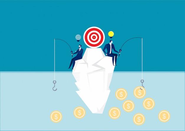 Twee zakenlieden die een dollarsymbool op berg, verschillende verwezenlijkingen en kans, geluk, illustratie proberen te vangen