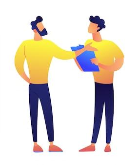 Twee zakenlieden die en vectorillustratie bevinden zich bespreken.