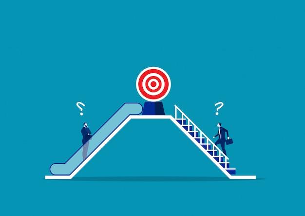Twee zakenlieden gebruiken verschillende manier door roltrap en trap. tot succesconcept