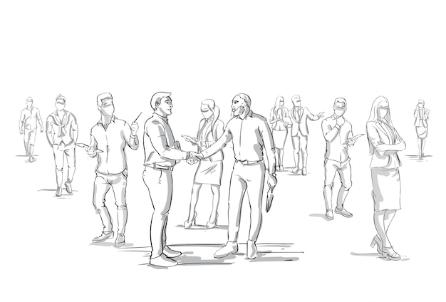 Twee zakenlieden handshake silhouet over zakenmensen groep menigte zakenlieden baas handen schudden