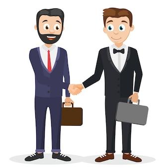 Twee zakenlieden in pakken met koffers schudden elkaar de hand.