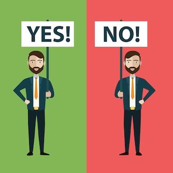 Twee zakenlieden met ja en geen banners