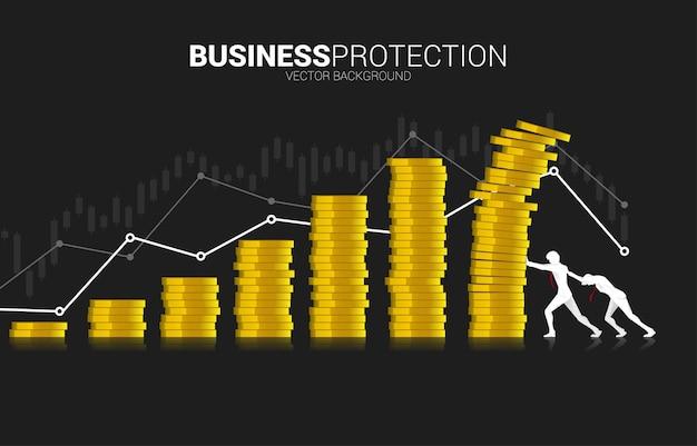 Twee zakenlieden proberen de ineenstorting van de dalende grafiekstapel munten te herstellen. concept van achteruitgang en dalende economische en zakelijke waarde.
