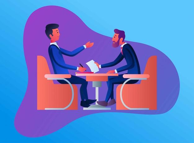 Twee zakenlieden raadplegen, vlakke afbeelding