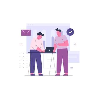 Twee zakenlieden samenwerken als een team