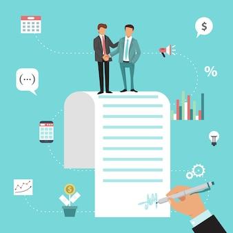 Twee zakenlieden schudden handen na overeenkomstcontract.
